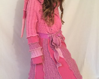 Girls pink Princess sweater coat dress ruffle elf hoodie by Hope Floats Upcycled