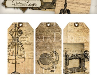 Printable Sewing Tags shabby printable gift tags printable crafting digital download instant download digital collage sheet -VD0442