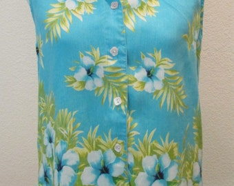 Women's Vintage Resort Hawaiian  Sleevelss Top Shirt Blouse 1980 Blue  Aqua Tropical  **Free USA Shipping**