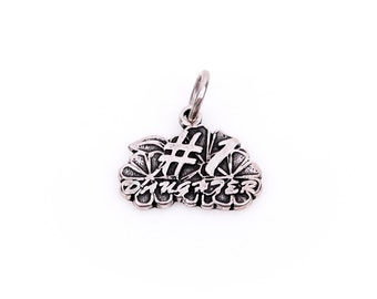 Floral #1 DAUGHTER Sterling Silver Charm Pendant,  pms0051