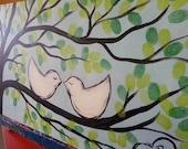 Love Birds Wedding Tree Fingerprint Guest Book Alternative on Blue  (Up to 150 Guests) (10 x 20)