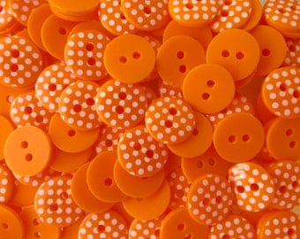 Orange 10 x 12mm High Quality Polka Dot Buttons