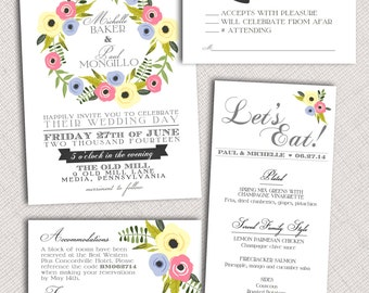 Floral Invitation or Menu