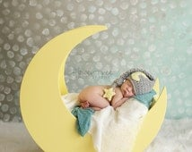 Baby Moon Hat, Newborn Photo Prop, Sleepy Time Hat, Moon And Star Hat, Newborn Stocking Cap, Newborn Elf Hat, Infant Longtail Hat