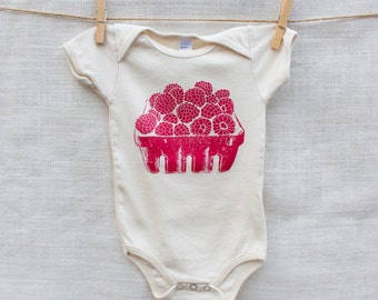 Raspberry Basket Organic Cotton Baby Onesie