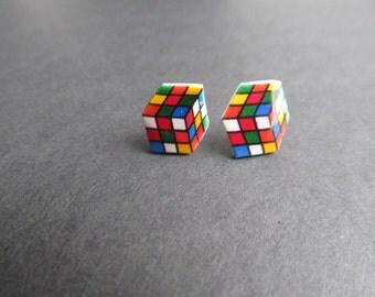 Rubik's Cube Stud Earrings 80's and 90's