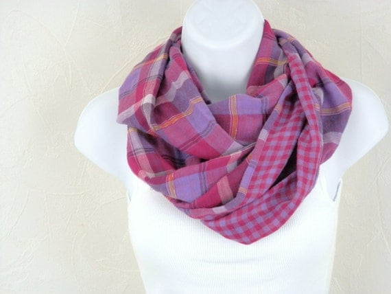 Reversible Cotton Infinity Scarf  in Fuchsia Pink, Purple, and Violet  Plaids  Double Loop Scarf  Handmade Fashion by Thimbledoodle
