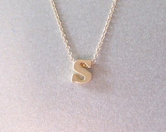 Lower Case Gold Initial Charm Necklace - Initial Necklace - Monogram Jewelry - Personalized Jewelry