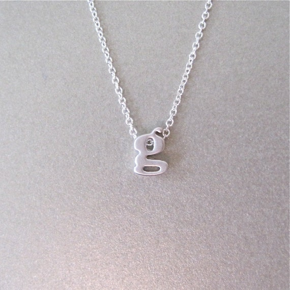 lower case silver initial charm necklace initial necklace