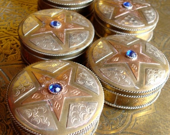 Moroccan five point star blue jewel pill box copper and brass hand engraved  pot