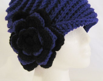 Cloche, flapper hat, beanie with flower attached hand crochet fits 20-22 inches