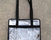 Clear bag roomy double strap tote bag Holiday travel carryall NFL Sports events Superbowl 50 security approved