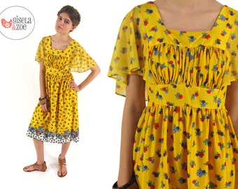 70s Floral Boho Dress ΔΔ  Empire Waist Hippie Dress Angel Sleeve Dress ΔΔ  md