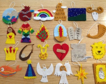 Tutorial for 24 Jesse Tree ornaments insipred by the Jesus Storybook Bible