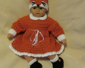 crochet baby dress set with Long Sleeve, Hat and Booties. Little Baby Fox. Handmade Baby Girl Crochet Dress Set (0-6 month)