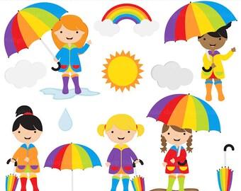 spring clip art rain rainbow clipart digital - Rainy Day Clip Art