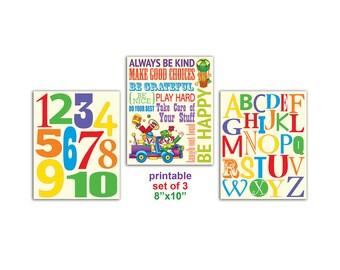 "Playroom Rules Digital SET OF 3 8""x10"" Printable Wall Decor, baby nursery print, kids art, kids room decor"