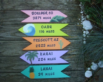 PERSONALIZED DIRECTIONAL SIGNS,  Hand Painted Custom Signs, Yard Art, Wooden Signs, Set of 5 Signs, Beach Signs, Arrows, Location Signss
