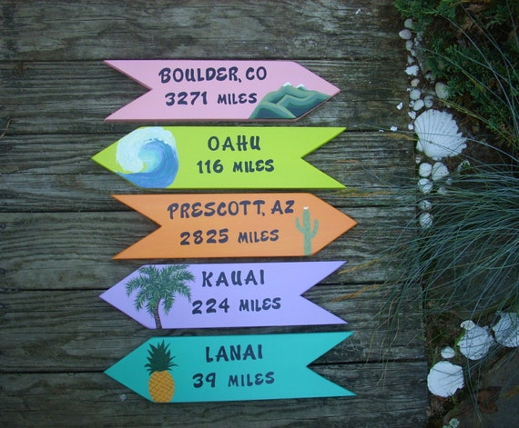 PERSONALIZED DIRECTIONAL SIGNS,  Hand Painted Custom Signs, Yard Art, Wooden Signs, Set of 5 Signs, Beach Signs, Arrows, Favorite Locations