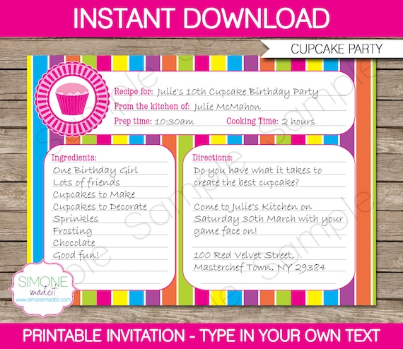 Cupcake invitation template recipe card invitation cupcake invitation template recipe card invitation birthday party instant download with editable text you personalize at home stopboris Gallery