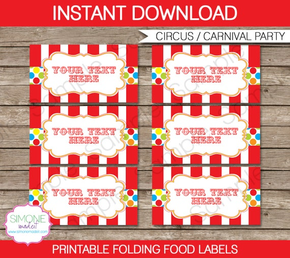 Carnival food labels circus food labels tent cards party decorations instant download - Carnival party menu ...