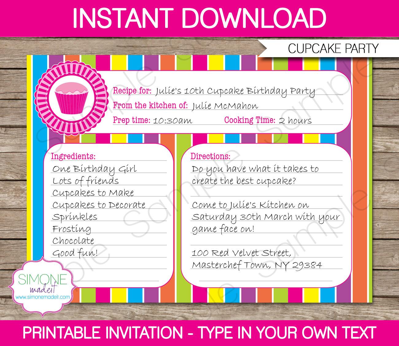 Cupcake Invitation Template Recipe Card Invitation