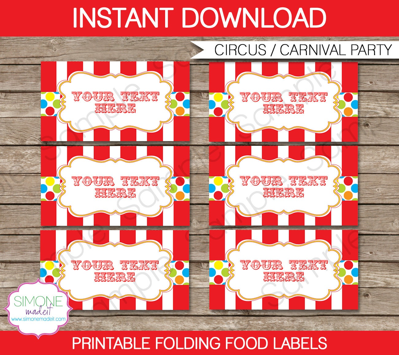 Carnival Food Labels Circus Food Labels Tent By Simonemadeit
