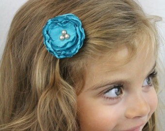 Turquoise Flower Hair Clip - Turquoise Boho Chic Flower with Pearls - Custom Colors Available