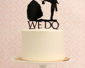 Wedding Cake Topper with Silhouettes - We Do - Victorian Inspired - MADE TO ORDER