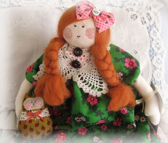 OOAk Art Doll Cloth Doll MISSY MAE Cat 15 inch Handmade Handcrafted CharlotteStyle  SIGNED