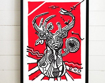 Deer Linocut Black & Red (210×297mm)