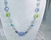 Pretty Blue & Green Bead Fashion Necklace