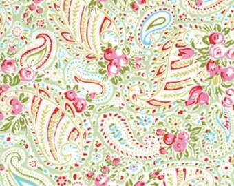 1/2 yard LAMINATED cotton fabric remnant (18 x 40) - Paisley Green Delilah - (aka oilcloth, coated vinyl) Tanya Whelan BPA free
