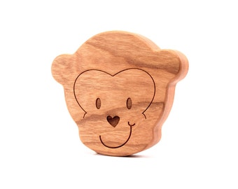 monkey RATTLE - all natural, heirloom first baby toy for safari baby boy or girl, solid hardwood with organic finish