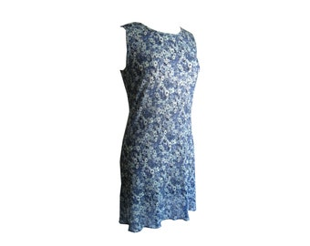 Dress Mini Sheer Blue Floral Ribbed Fabric Size Medium