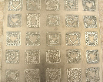 "Handmade Mixed Media Wall Art,  Etched Pewter Hearts, 5.5"" x 5.25"""