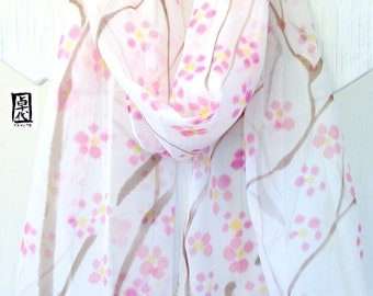 Hand Painted Silk Scarf, Pink and Grey Japanese Plum Blossoms Scarf. Spring Fashion. Pink Silk Chiffon Scarf. 13x69 in. Made to order.