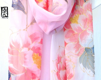 Hand painted Silk Shawl Scarf, Pastel Pink Kimono Japanese Peonies Ombre Scarf, Pink Silk Chiffon Scarf. Approx 20x88 in. Made to order.