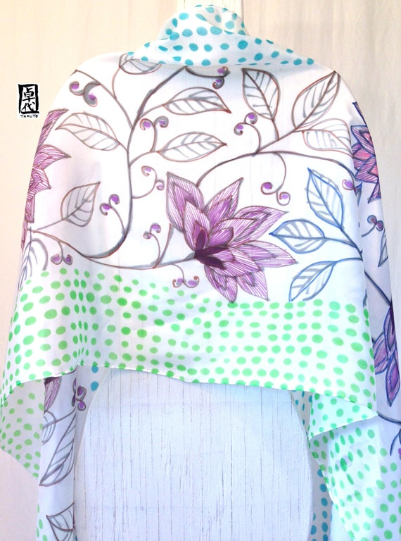 Hand painted Large Silk Scarf, Mint Green, Purple and Blue Blossoming Japanese Floral Scarf. Multicolor Floral Silk Scarf. 22x90 inches.