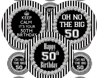 50th Birthday, 2 Inch Circles, Digital Collage Sheet, Black And White Stripes With Bling, Cupcake Toppers, Magnets, Birthday Party, Supplies