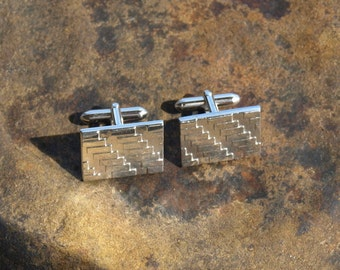Vintage Swank Cuff Links Textured Rectangles
