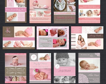 INSTANT DOWNLOAD - Baby Girl Birth Announcement Templates - Girl Bulk Pack - 31 PSD Templates