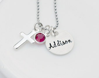 Communion Necklace - Cross Necklace - Hand Stamped Jewelry - Personalized Necklace