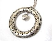 1950's, LARGE Sterling Silver Pendant Necklace, cut work, dangle, Excellent