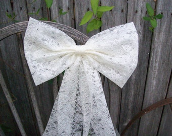 Lace Pew Bow, Ivory Bow, White Lace Bow, Wedding Aisle Decor, Wedding Chair Decoration, Steampunk, Cottage Chic, Rustic Wedding