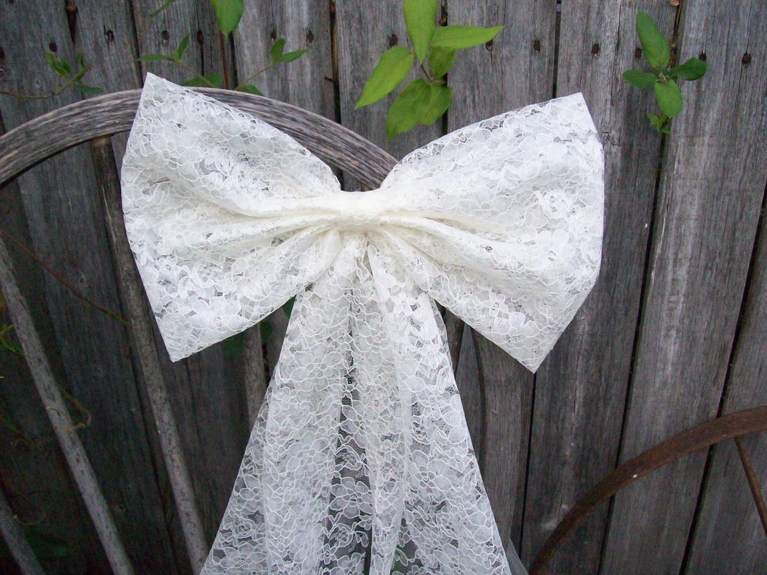 Lace pew bow ivory bow white lace bow wedding aisle decor - Bow decorations for weddings ...