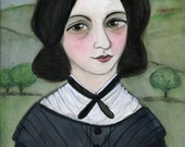 Emily Bronte Art Print Victorian Writers Portrait Painting 6x8  Wuthering Heights Illustration Literary Decor