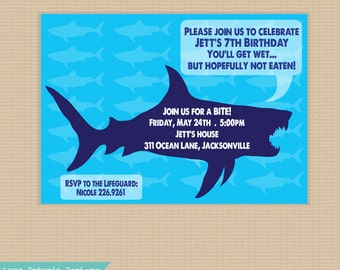 SHARK Party . Invitation .  Any colors