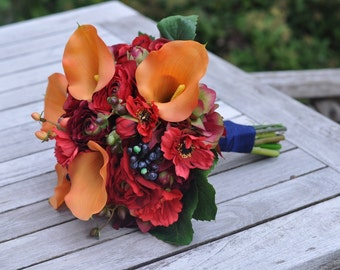 Vibrant Fall Wedding Bouquet, Keepsake Bouquet, Bridal Bouquet, made with Orange Calla Lily, Red Rose, Ranunculus & Blueberries.