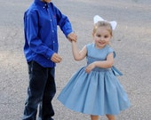 Girls Cotton Sleeveless Handmade Smocked Dress, any color of your choice. Ties in back.